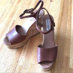 Steve Madden | Korkey brown leather wedge sandals